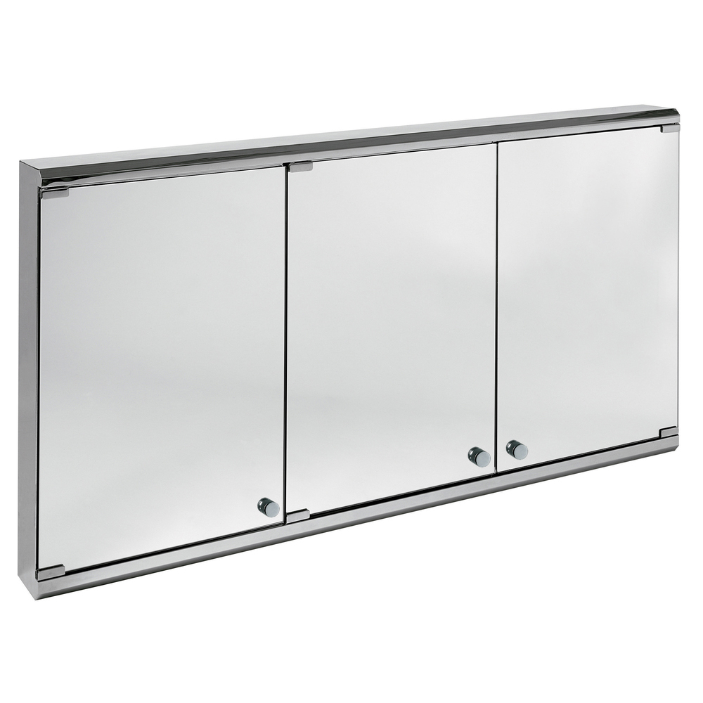 triple 1000 bathroom mirrored cabinet with lights and shaver socket