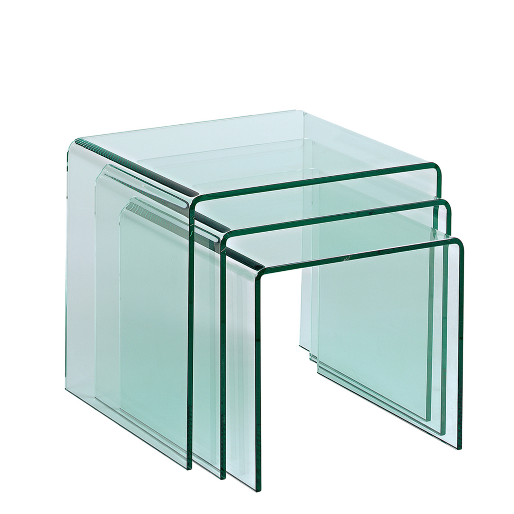 Puro Tempered Glass Nest Of Tables Clear Dwell