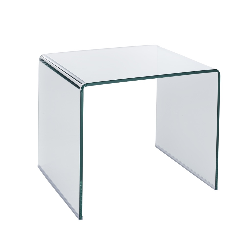 Puro tempered glass side table clear dwell