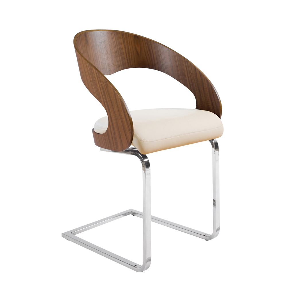 curved padded dining chair walnut and off white dwell : 1000 105839 from dwell.co.uk size 1000 x 1000 jpeg 197kB