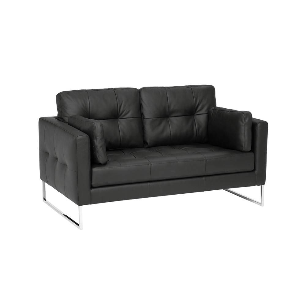 Paris Leather Two Seater Sofa Black Dwell