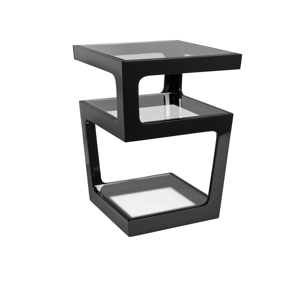 Triple level gloss side table black dwell Side and coffee tables