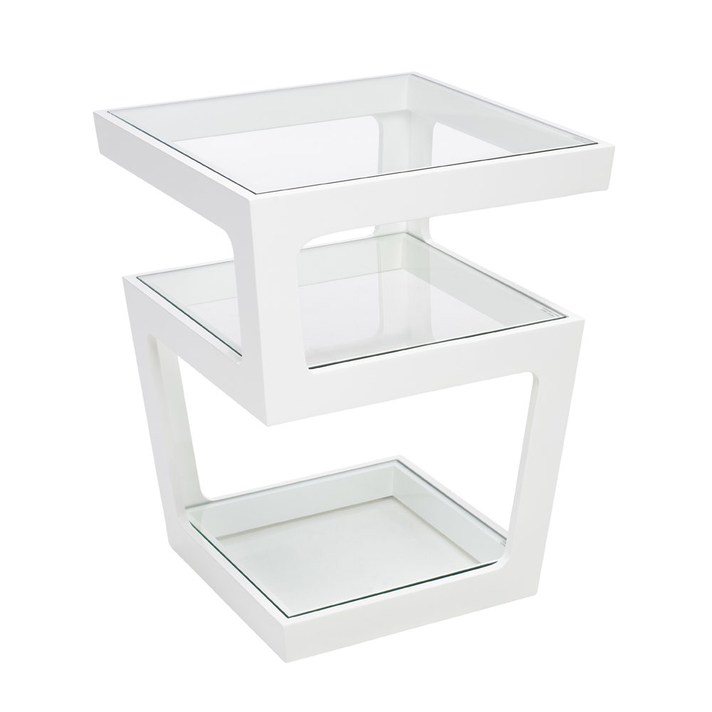 Modern white coffee table for sale - Triple Level Gloss Side Table White Dwell