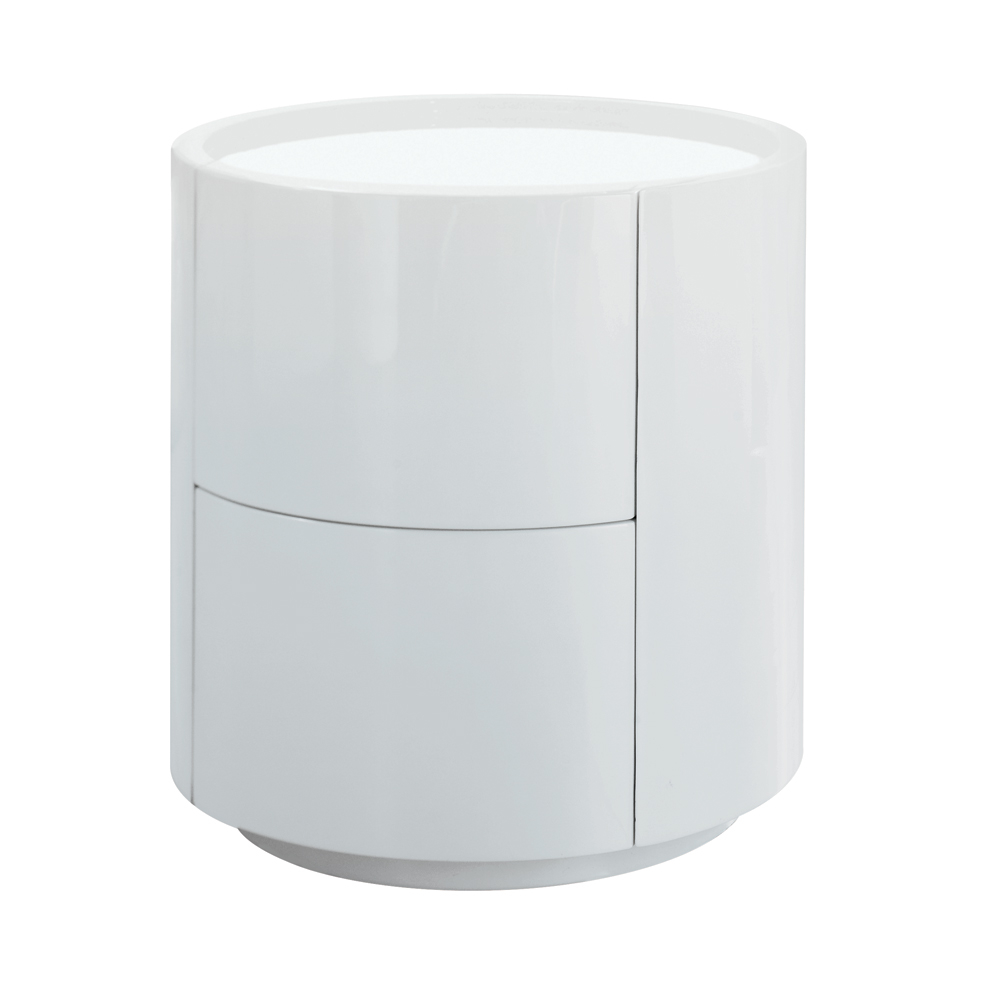 Sphere Gloss Bedside Table White Dwell