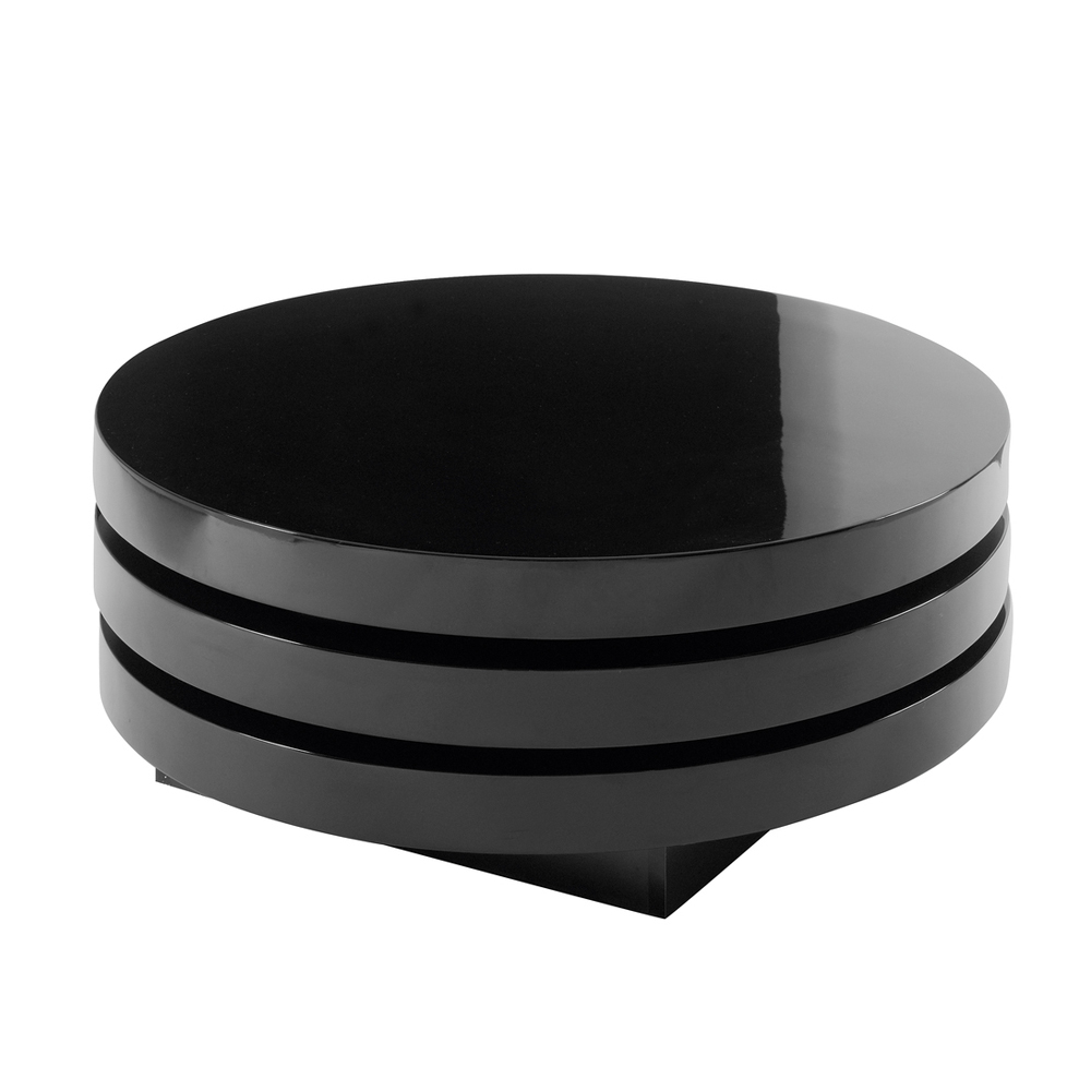 Triplo Round Gloss Swivel Coffee Table Black