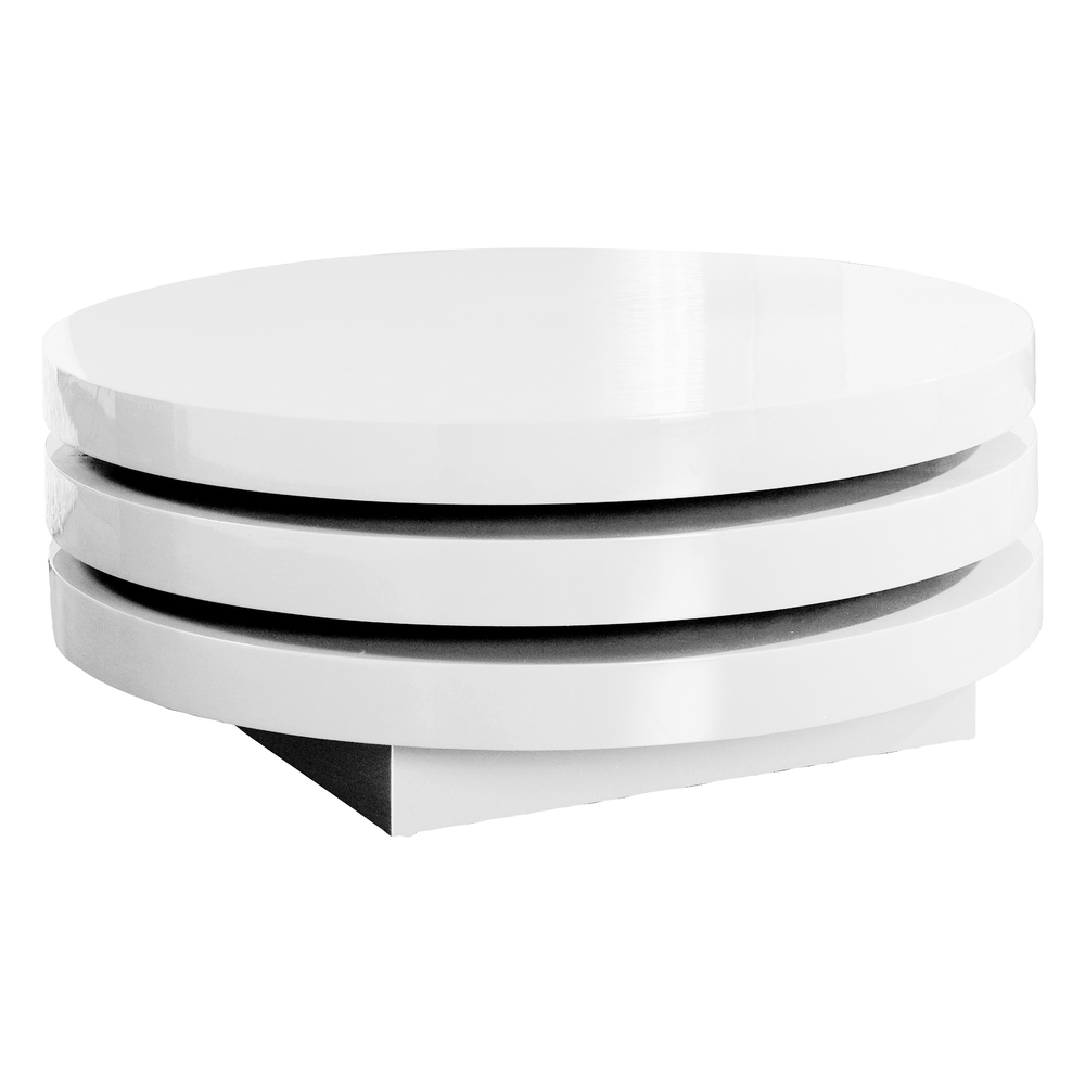 Triplo round gloss swivel coffee table white dwell Black and white coffee table