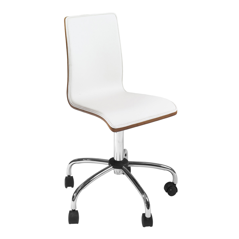 Straight Back Walnut Home Office Chair White