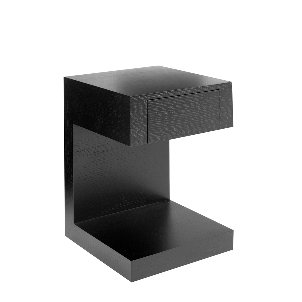 Seattle bedside table with drawer dark oak dwell for Small black table