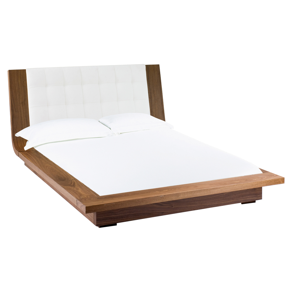 Kingsley padded bed with walnut frame double dwell for Padded bed frame
