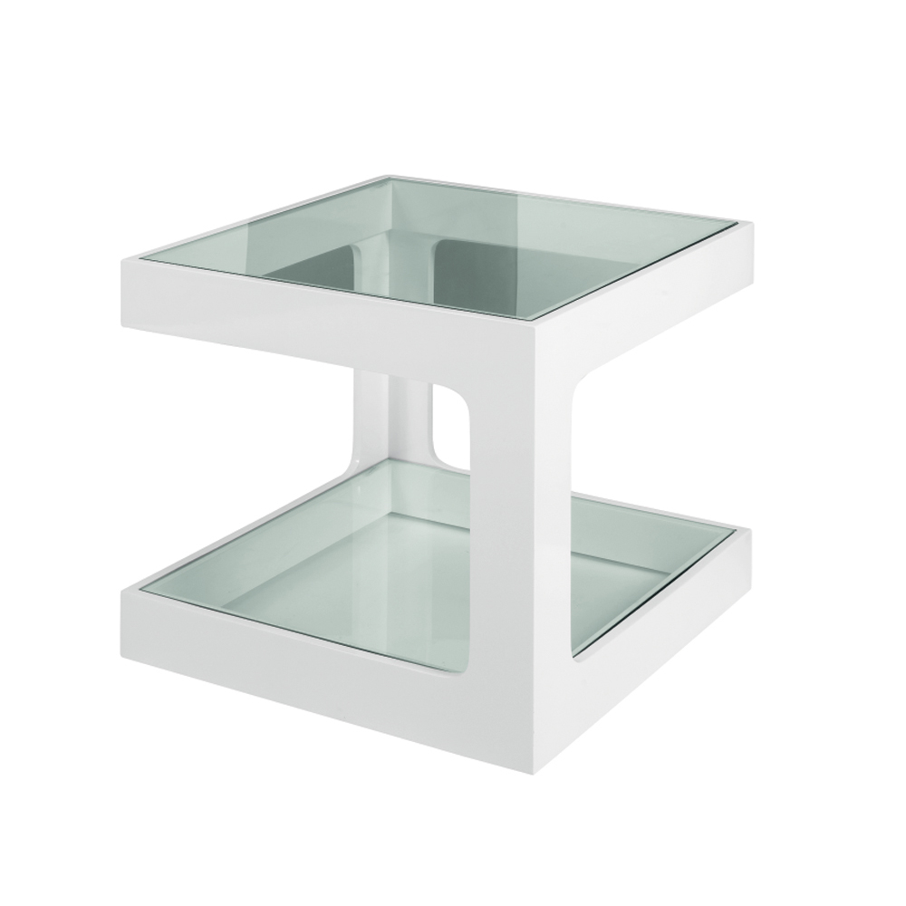 Dwell modular gloss side table white for White end table