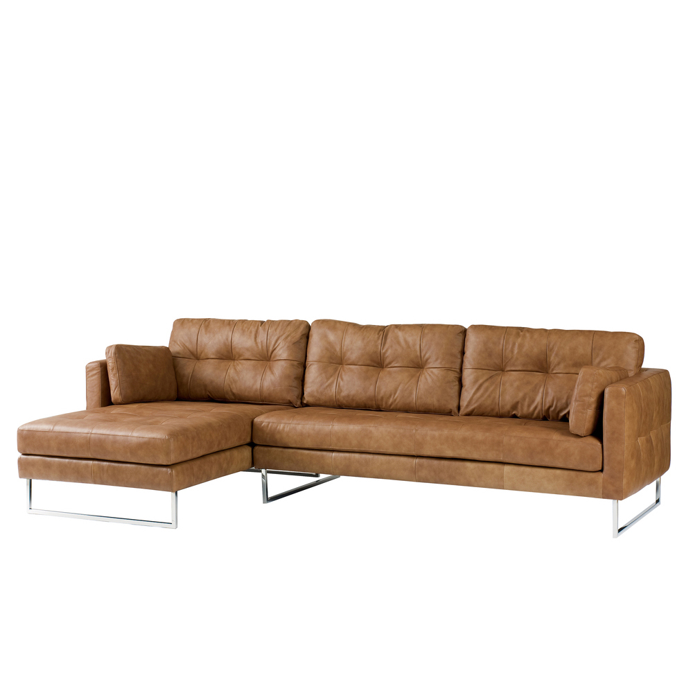 paris leather left hand corner sofa tan loading zoom - Tan Leather Sofa