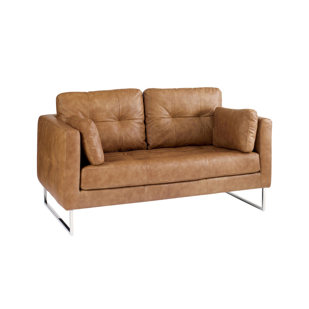 paris leather two seater sofa tan - dwell