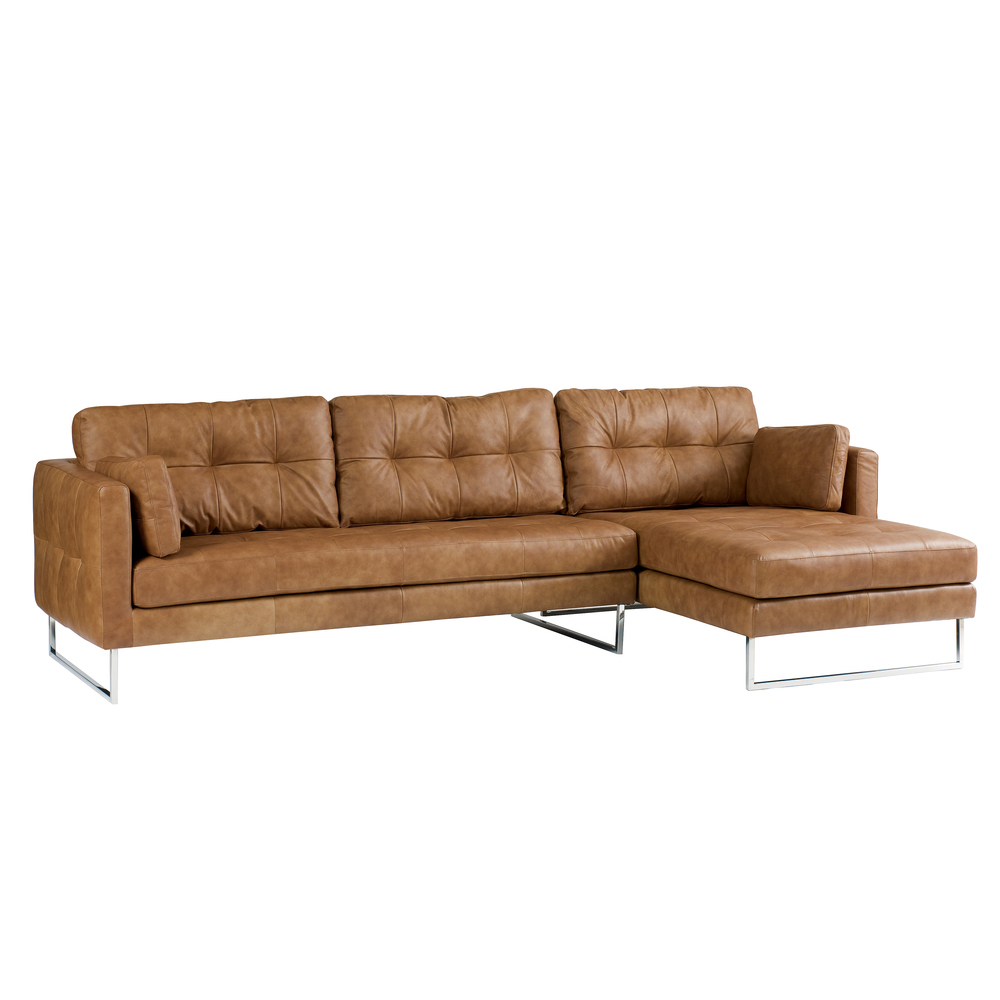 Paris leather right hand corner sofa tan - dwell