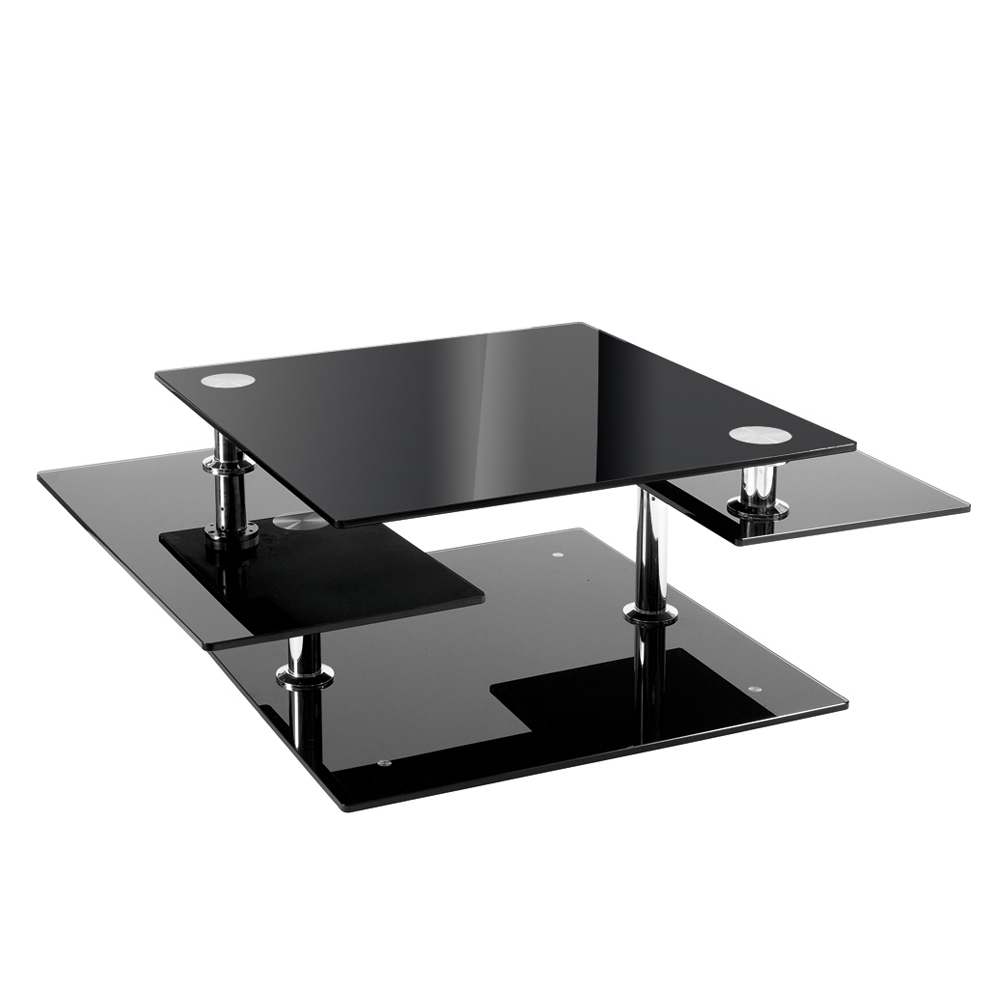 Jacque Extending Glass Coffee Table Black