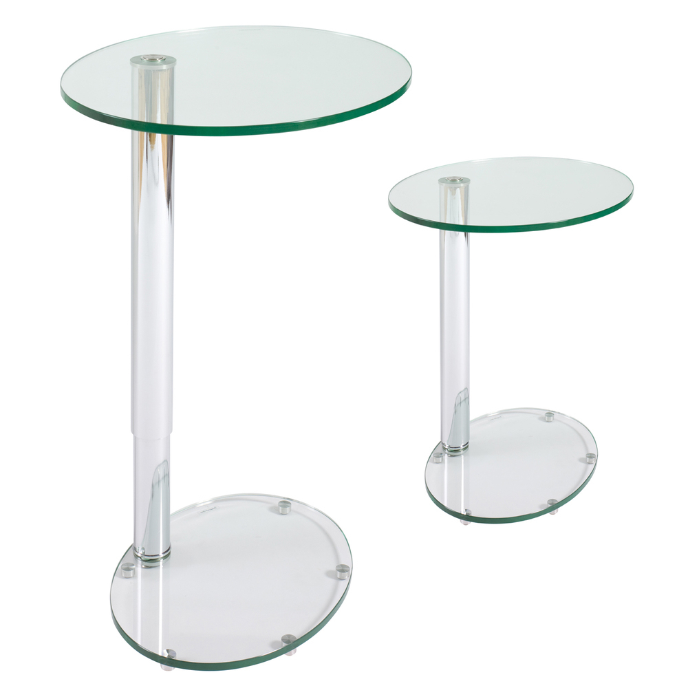 Tomasz Adjustable Oval Side Table Clear. Loading Zoom