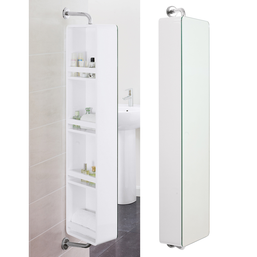Sicily rotating mirrored storage unit white dwell - Bathroom storage mirrored cabinet ...