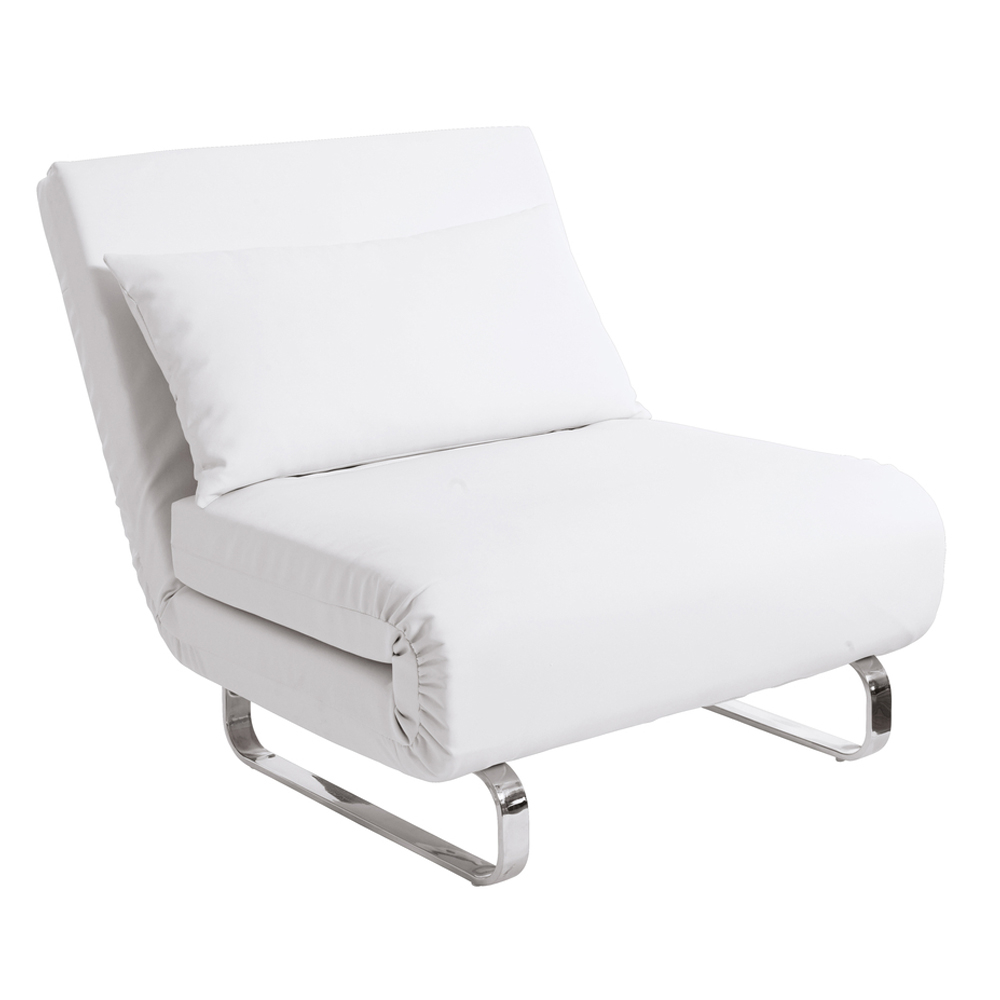 Stylus Faux Leather Chair Bed White Dwell