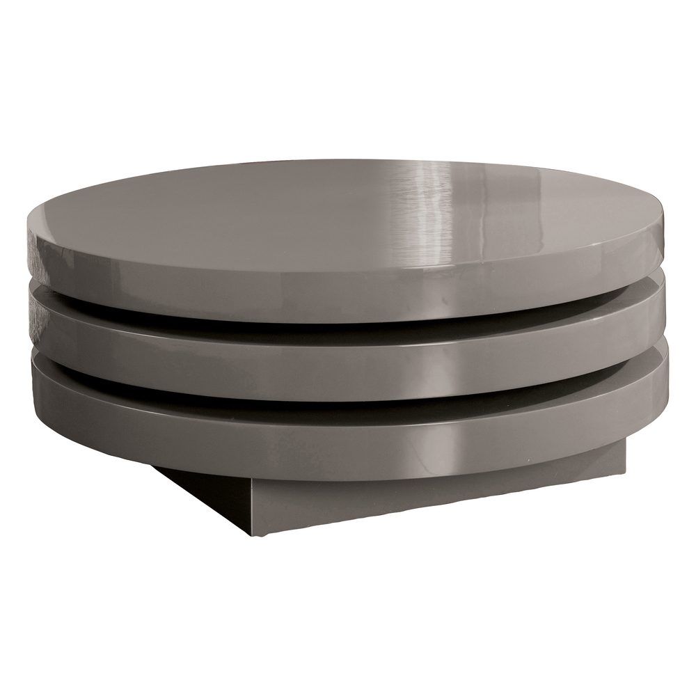 triplo round gloss swivel coffee table stone - dwell