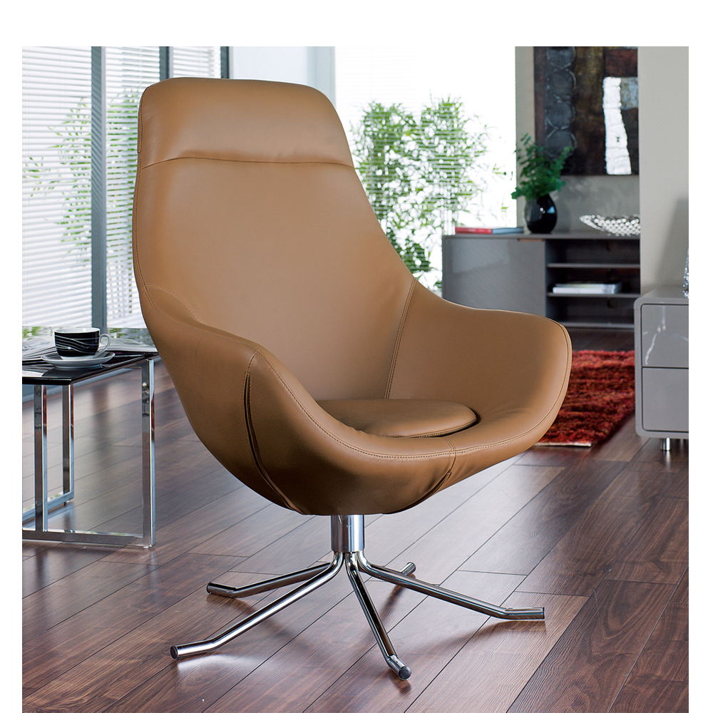 austin faux leather swivel armchair tan - dwell