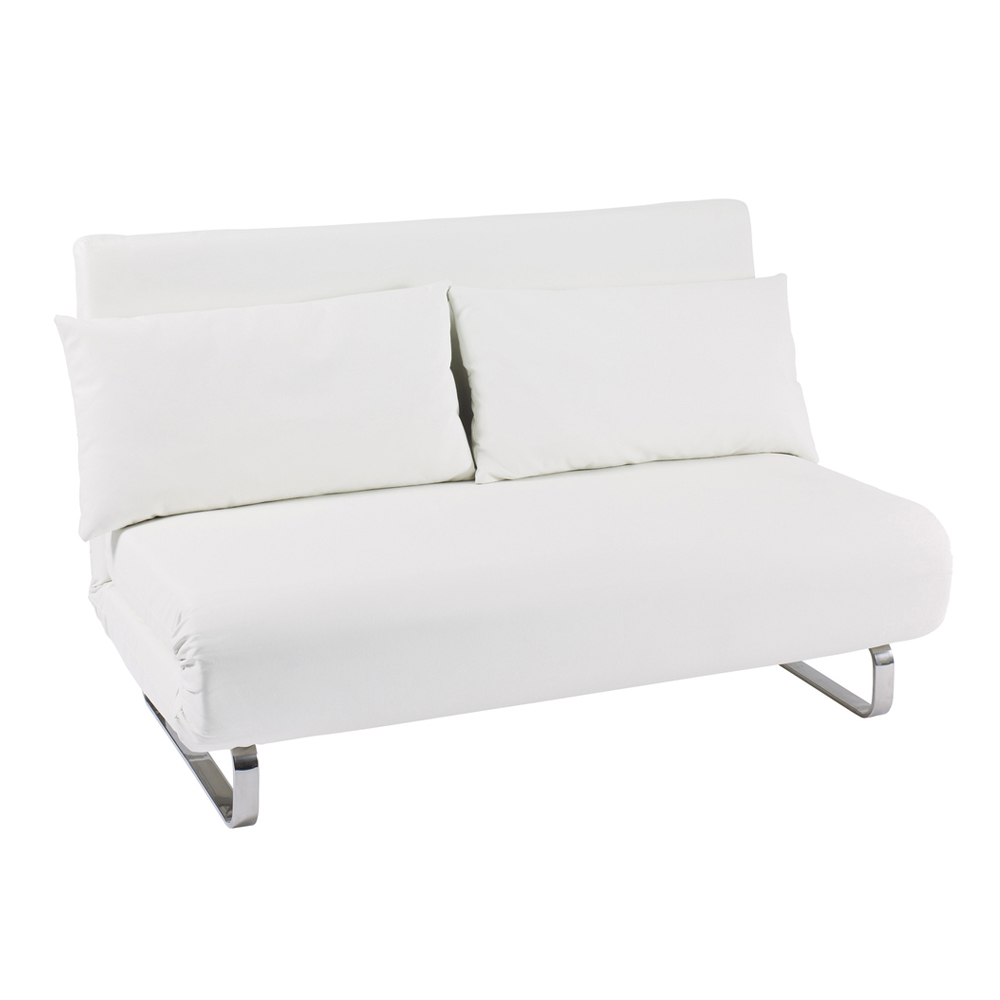 Stylus faux leather sofa bed white dwell for White sofa bed uk