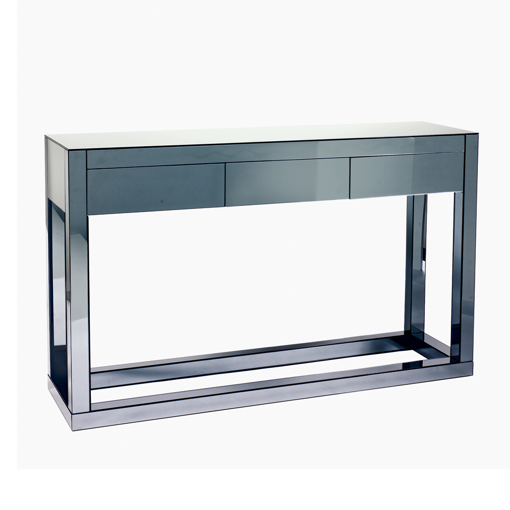 reflect mirrored three drawer console table  dwell - reflect mirrored three drawer console table loading zoom