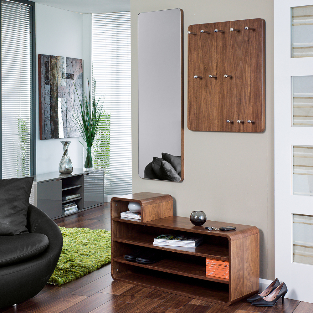 Hallway Storage Unit With Wall Mirror And Hanging Unit