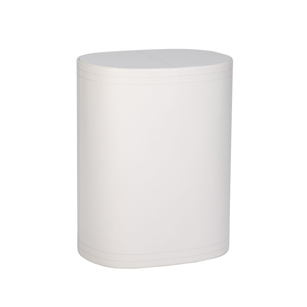 Bathroom accessories contemporary - Leather Laundry Bin White Dwell
