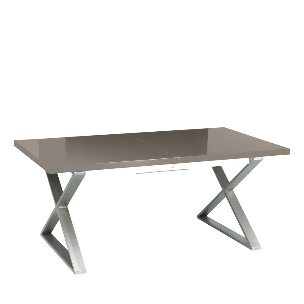 Crossed leg gloss extending dining table brushed steel leg stone dwell crossed leg gloss extending dining table brushed steel leg stone loading zoom watchthetrailerfo