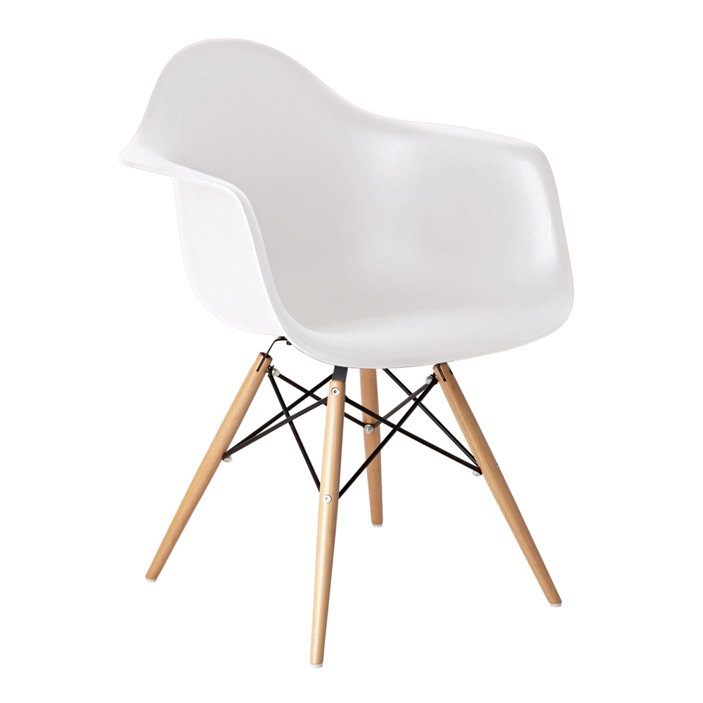 Eiffel armchair with beech legs white dwell for Arm chair white