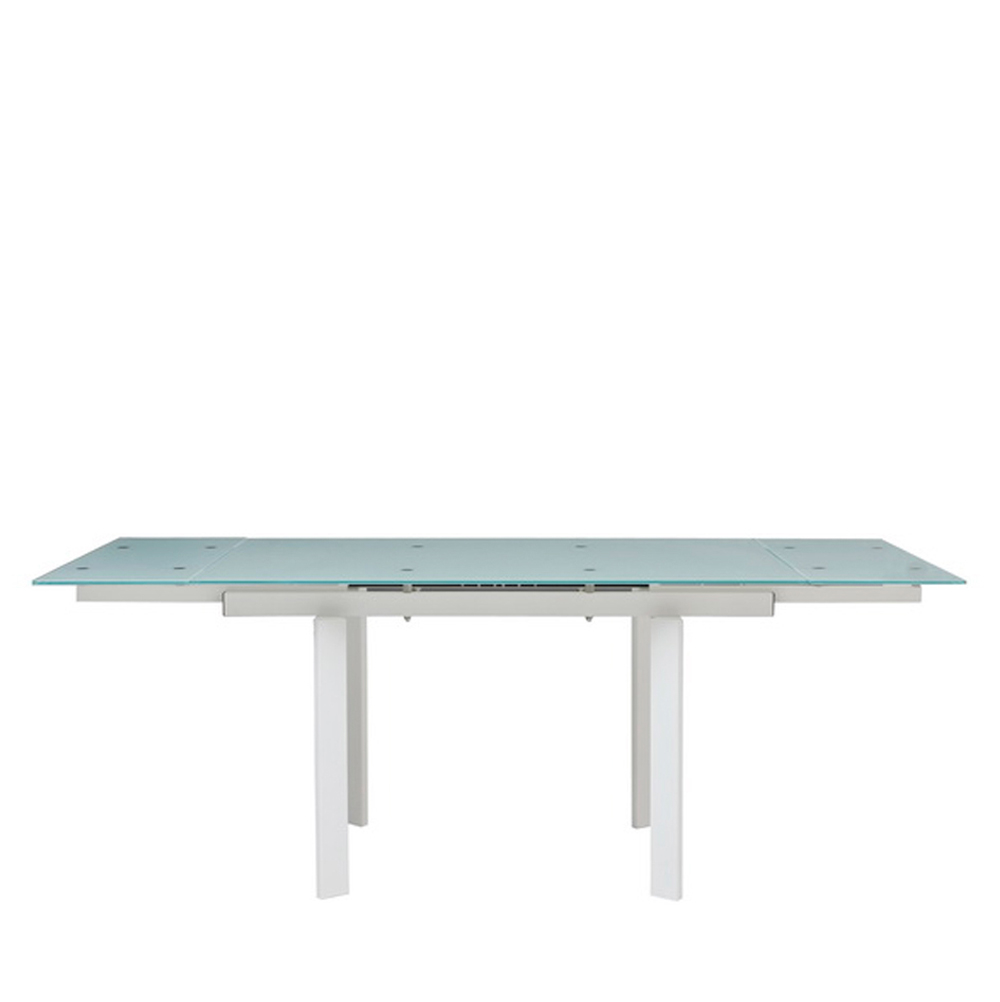 Vito Extending White Glass Dining Table With White Legs