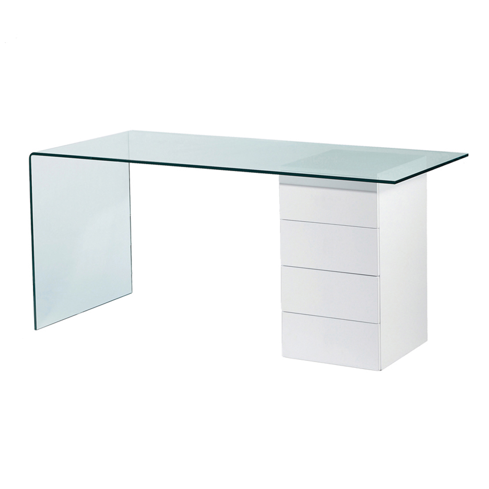 Refract Glass Desk With Drawers Dwell