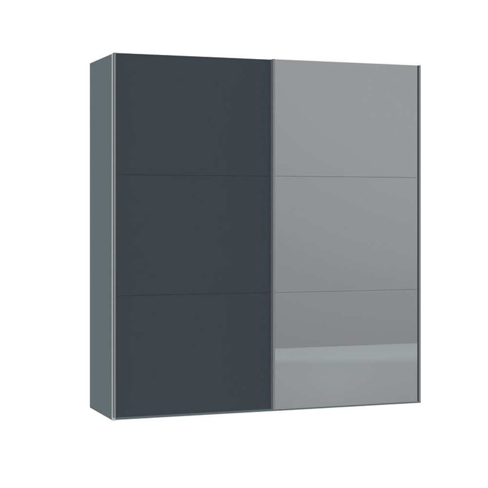 Loft two door sliding wardrobe grey glass and mirror dwell for Glass mirror sliding doors