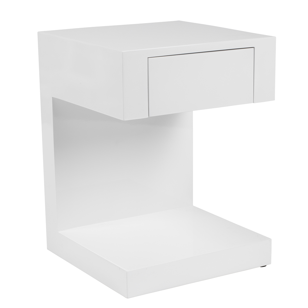 Seattle bedside table with drawer white. Loading zoom