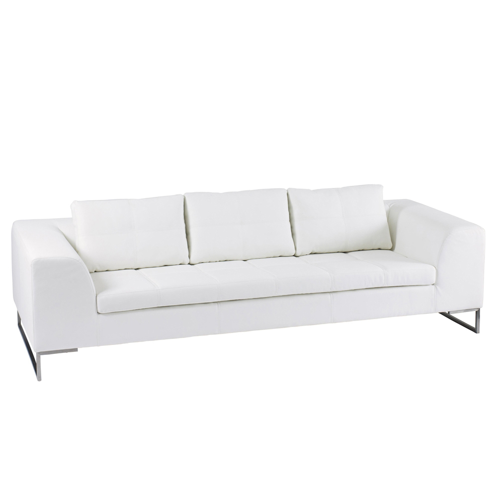 Vienna Leather Three Seater Sofa White Dwell