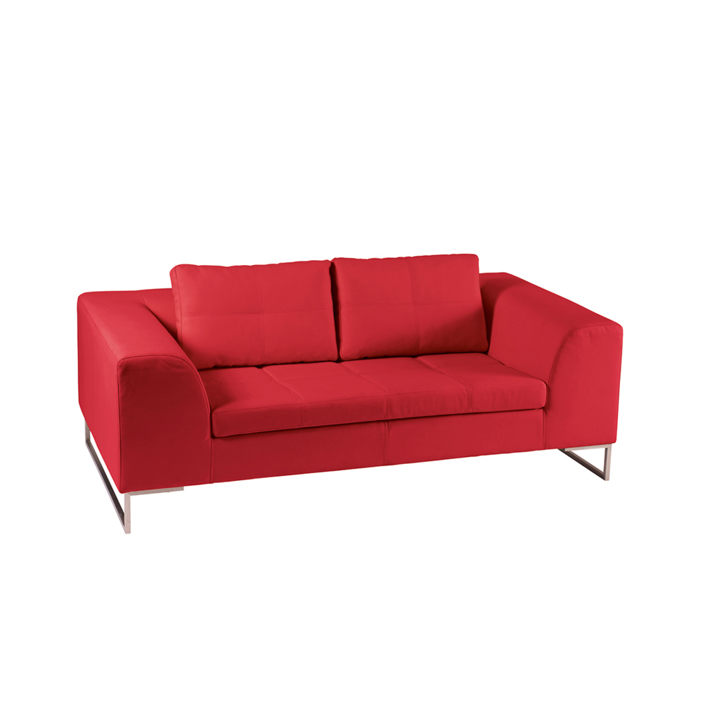 Vienna Leather Two Seater Sofa Red Dwell
