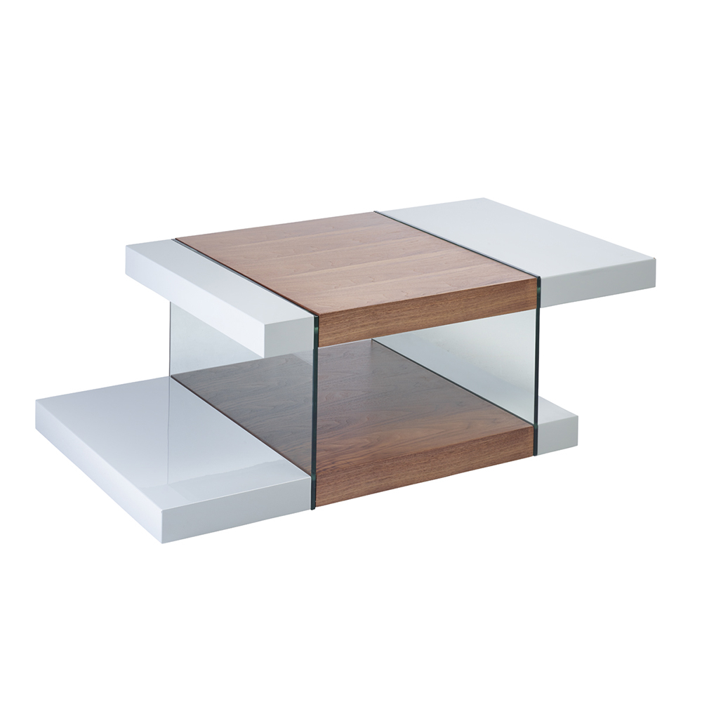 Treble Coffee Table Light Grey And Walnut Loading Zoom