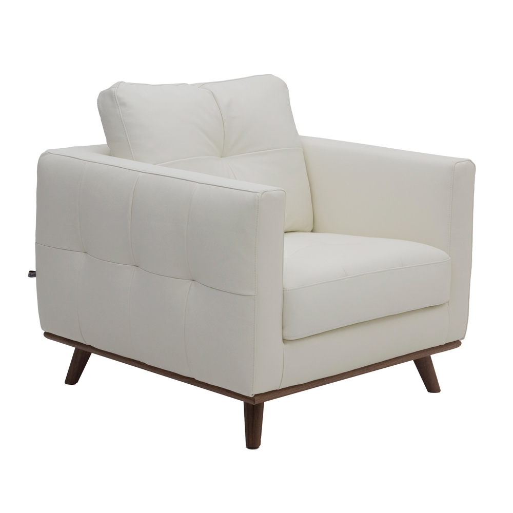 Marseille Leather Armchair Off White Dwell