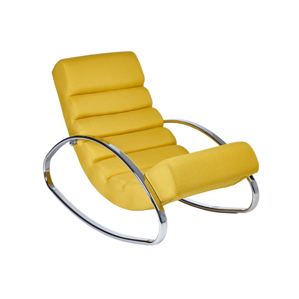 Ripple Rocker With Chrome Legs Mustard Fabric Dwell
