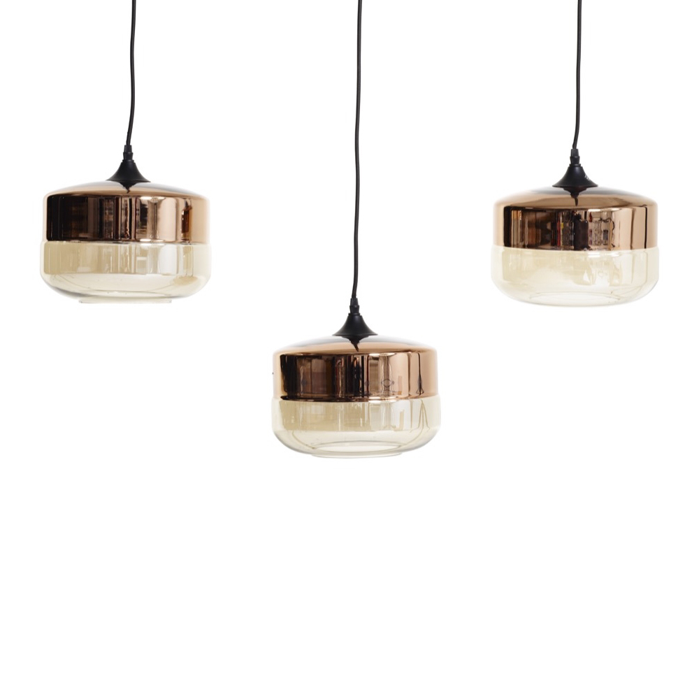 Tea Glass Pendant Light Set Of 3 Short