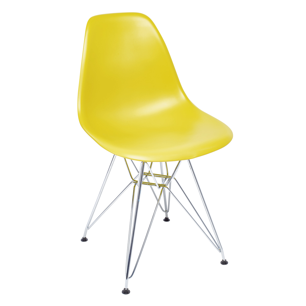 Eiffel Dining Chair With Metal Legs Mustard. Loading Zoom