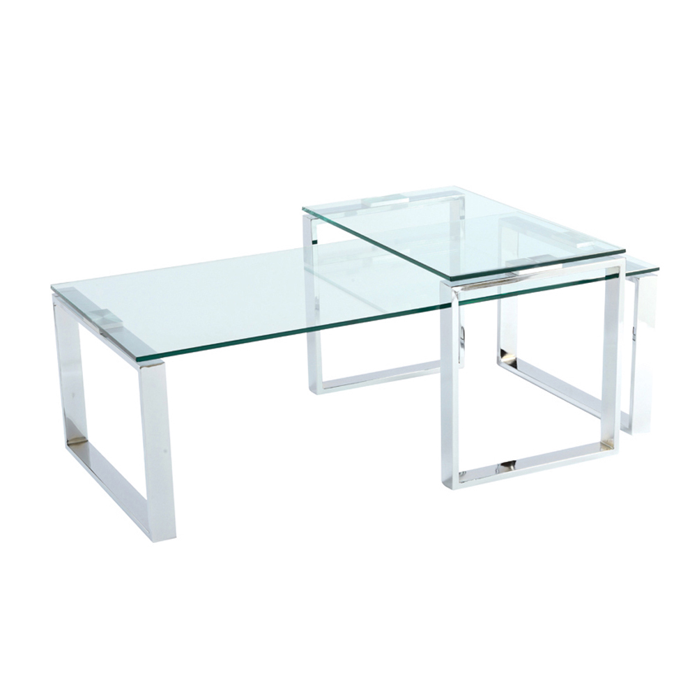 Span glass coffee table set dwell Glass coffee table set