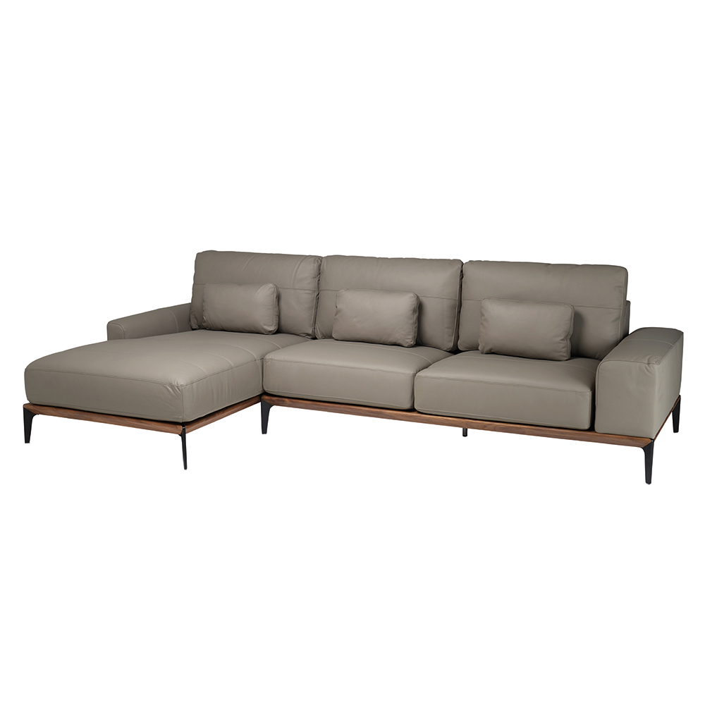 Malmo leather left hand corner sofa light grey dwell for Light gray leather sofa