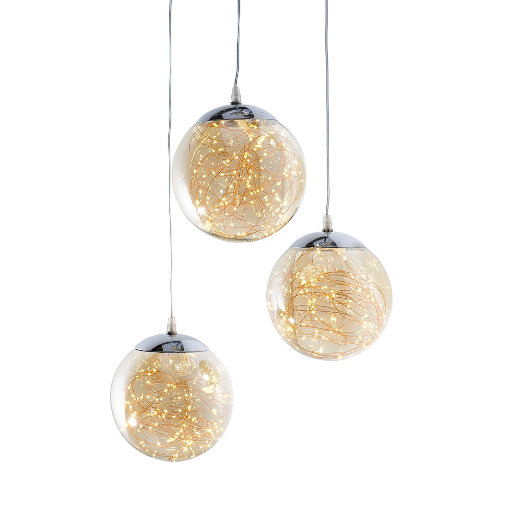 Amber Flare Triple Pendant Light Medium