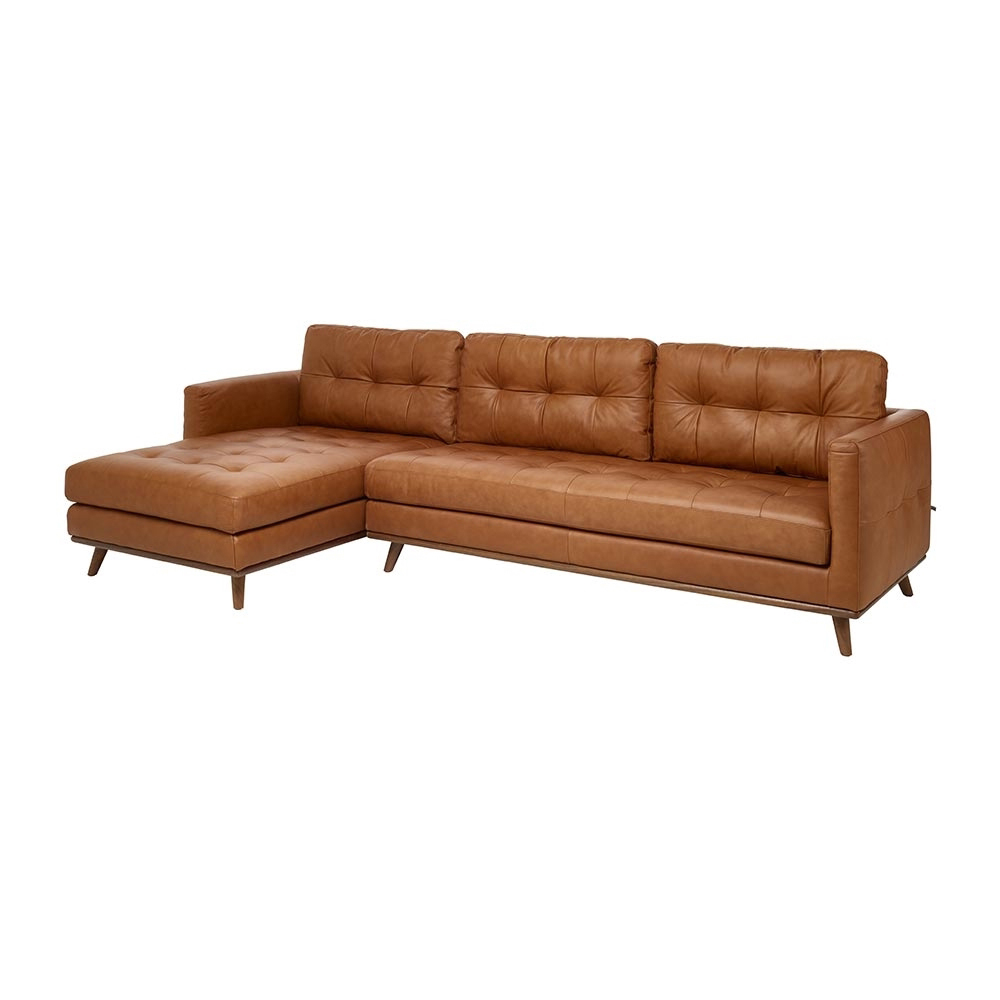 Marseille Leather Left Hand Corner Sofa Tan - Dwell