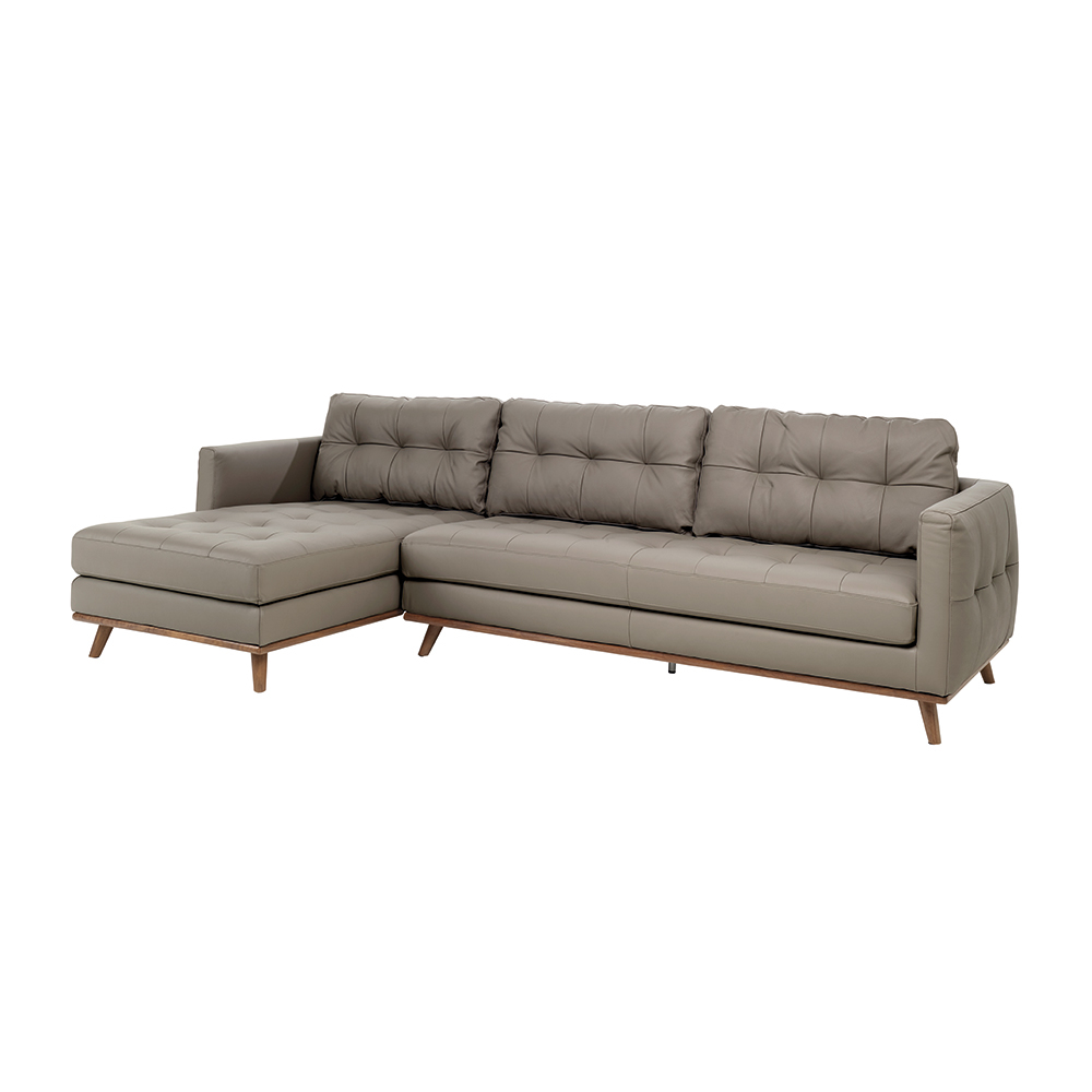 Marseille leather left hand corner sofa light grey dwell for Light gray leather sofa