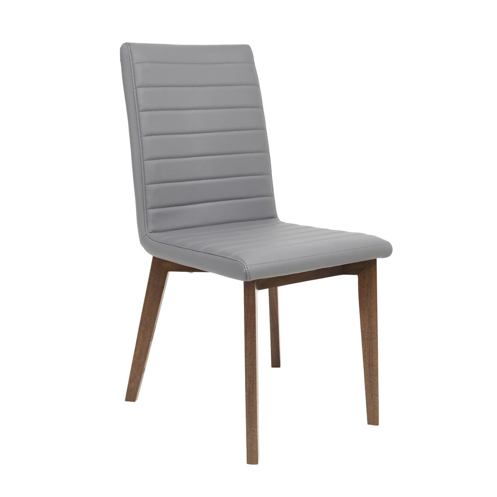 parquet dining chair faux leather grey dwell