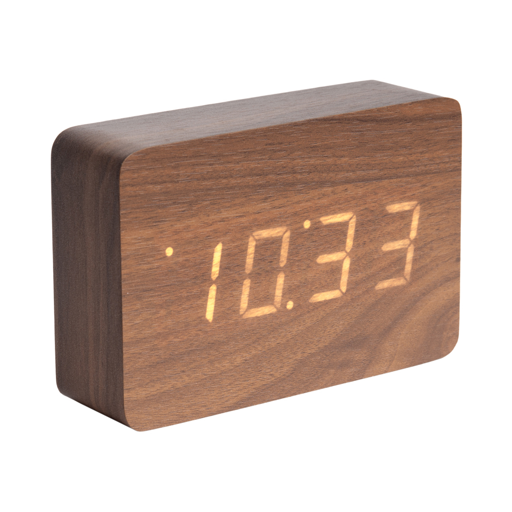 Digital Alarm Clock Walnut Dwell