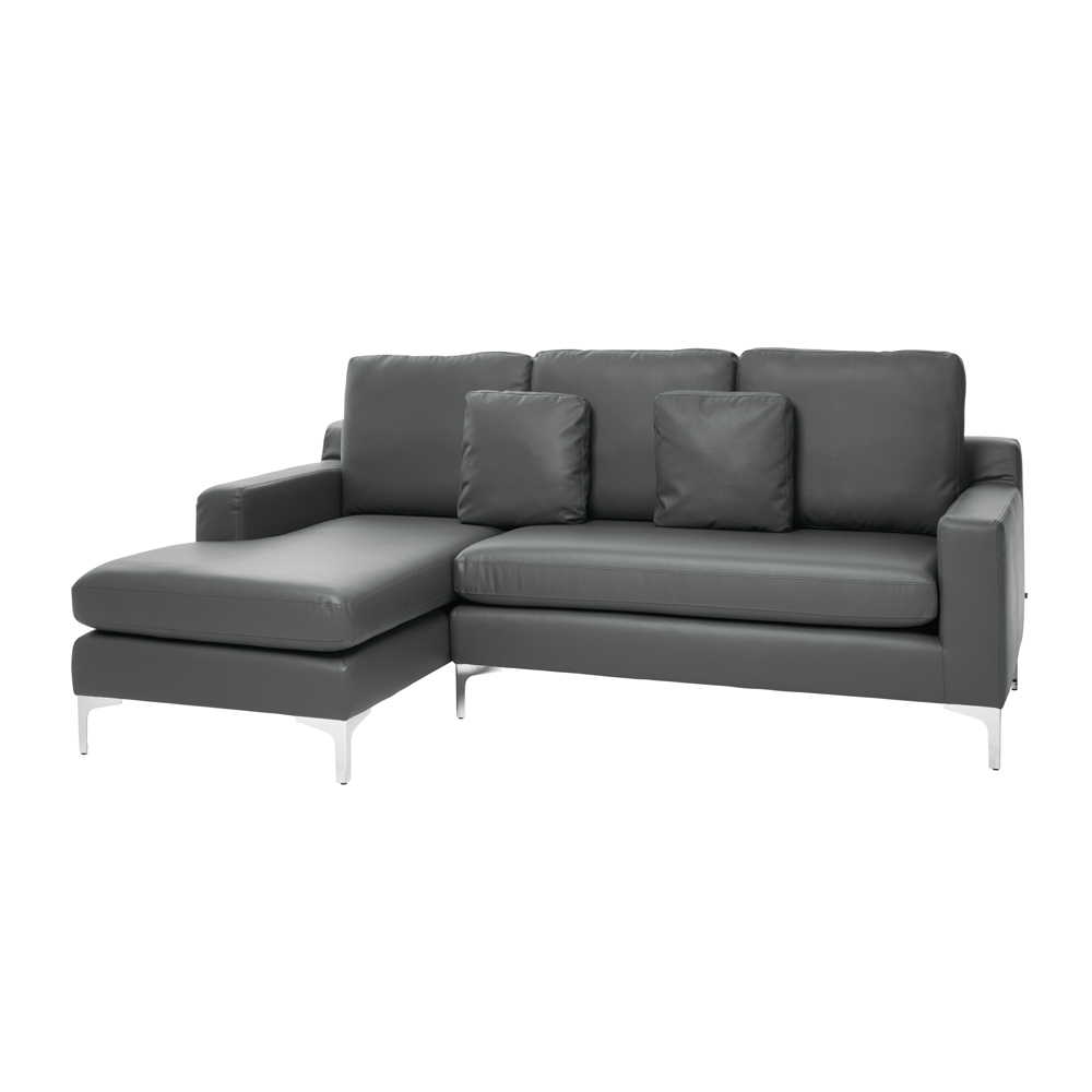 Left Hand Corner Sofas For Sale: Oslo Faux Leather Left Hand Corner Sofa Gull Grey