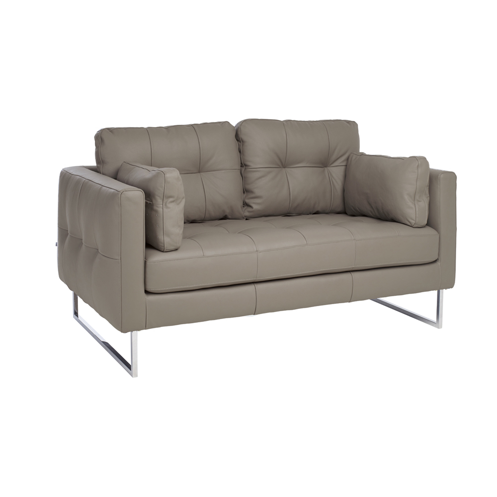 Perfect Paris Leather Two Seater Sofa Dove Grey. Loading Zoom