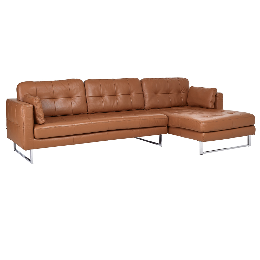 Paris Leather Right Hand Corner Sofa Natural Tan Dwell